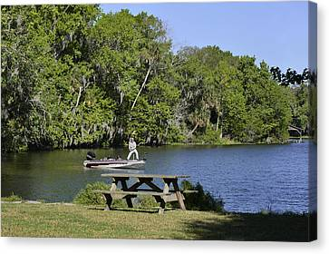 Fishing At Ponce De Leon Springs Fl Canvas Print by Christine Till