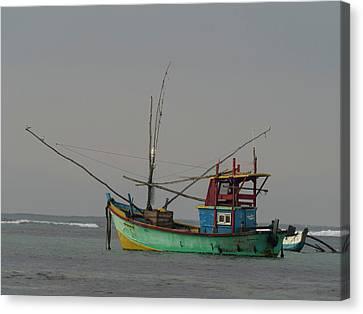 Fishing Boat At Anchor, Matara Canvas Print by Panoramic Images