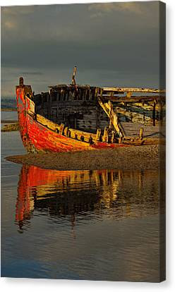 Fishing Boat At Crow Point - North Devon Canvas Print by Pete Hemington
