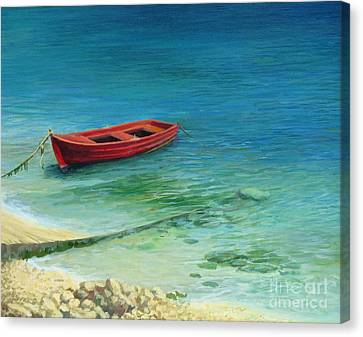 Fishing Boat In Island Corfu Canvas Print by Kiril Stanchev