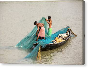 Fishing Boat In The Sunderbans Canvas Print by Ashley Cooper