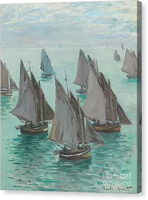 Fishing Boats Calm Sea Canvas Print by Claude Monet