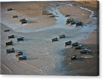 Fishing Boats On The Muddy Beach, East Canvas Print by Keren Su