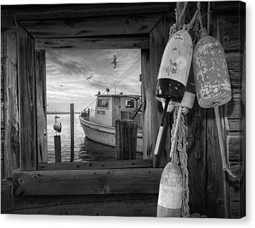 Fishing Bouys At Sunrise With Fishing Boat And Gulls Canvas Print by Randall Nyhof