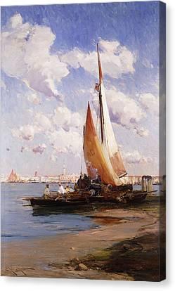 Fishing Craft With The Rivere Degli Schiavoni Venice Canvas Print by E Aubrey Hunt