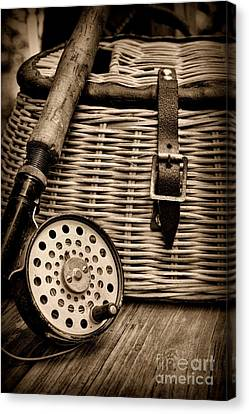 Fishing - Fly Fishing - Black And White Canvas Print by Paul Ward