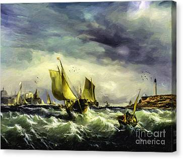 Fishing In High Water Canvas Print by Lianne Schneider