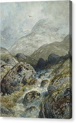 Fishing In The Mountains Canvas Print by Gustave Dore