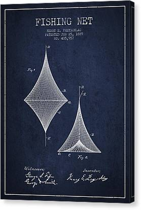 Fishing Net Patent From 1889- Navy Blue Canvas Print by Aged Pixel