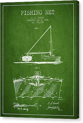 Fishing Net Patent From 1905- Green Canvas Print by Aged Pixel