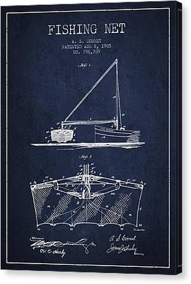 Fishing Net Patent From 1905- Navy Blue Canvas Print by Aged Pixel