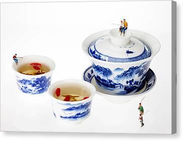 Fishing On Tea Cups Little People On Food Series Canvas Print by Paul Ge