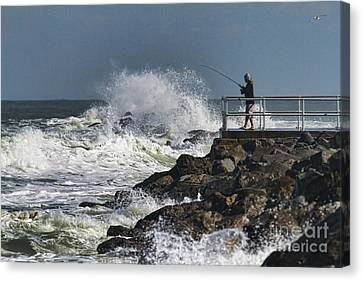 Fishing On The Pier Canvas Print by Deborah Benoit