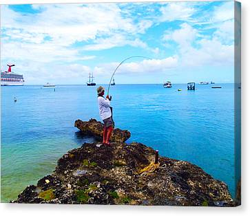 Fishing Paradise Canvas Print by Carey Chen