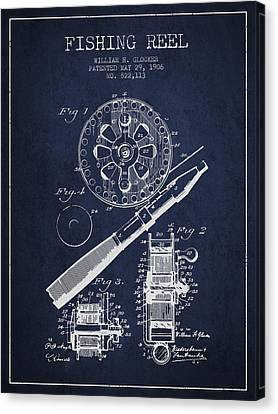 Fishing Reel Patent From 1906 - Navy Blue Canvas Print by Aged Pixel