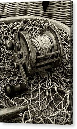 Fishing - That Old Fishing Reel In Black And White Canvas Print by Paul Ward