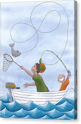 Fishing With Grandpa Canvas Print by Christy Beckwith