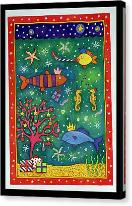 Fishy Christmas, 1997 Wc And Pastel On Paper Canvas Print by Cathy Baxter