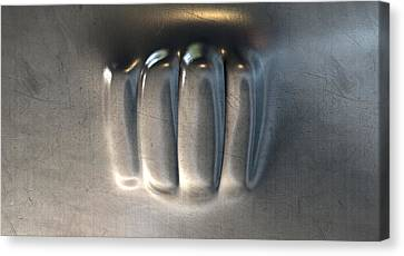 Fist Punched Metal Canvas Print by Allan Swart