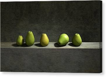 Five Pears Canvas Print by Cynthia Decker