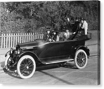 Five Women Out For A Drive Canvas Print by Underwood Archives