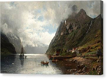 Fjord Landscape With Figures Canvas Print by Anders Askevold