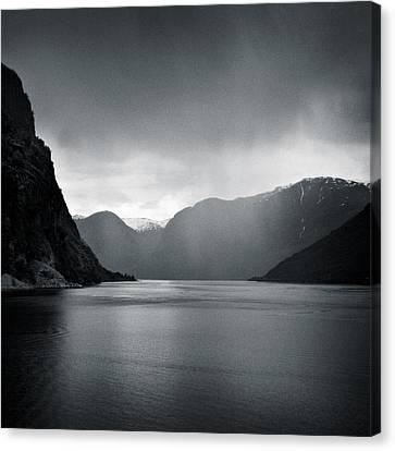 Fjord Rain Canvas Print by Dave Bowman