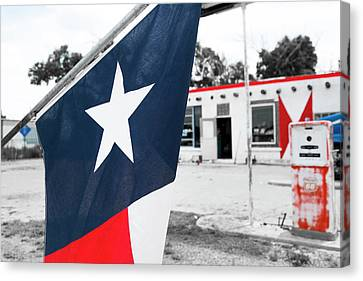 Flag At An Antique Gas Station, Adrian Canvas Print by Julien Mcroberts