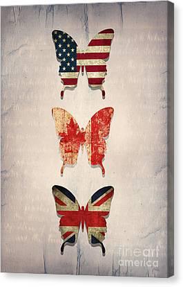 Flag Butterflies Canvas Print by Steffi Louis