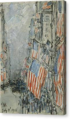 Flag Day. Fifth Avenue. July 4th 1916 Canvas Print by Childe Hassam