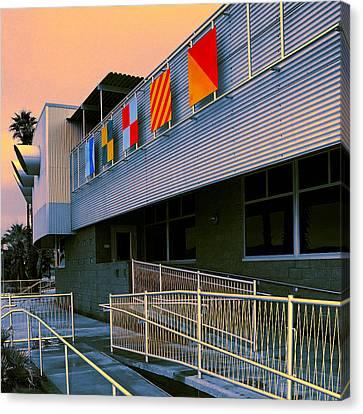 Flag Day Night North Shore Yacht Club Salton Sea Canvas Print by William Dey