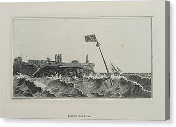 Flag Flying In A Stormy Sea Canvas Print by British Library