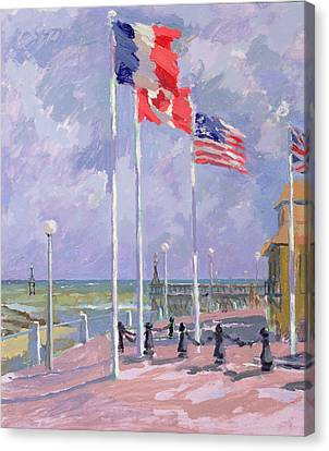 Flags At Courseulles Normandy  Canvas Print by Sarah Butterfield