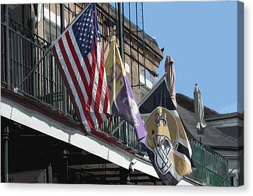 Flags On Bourbon Street Canvas Print by Donna G Smith
