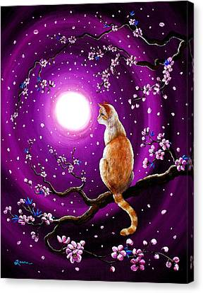Flame Point Siamese Cat In Dancing Cherry Blossoms Canvas Print by Laura Iverson
