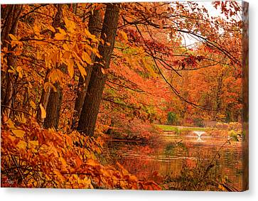 Flaming Leaves Canvas Print by Lourry Legarde
