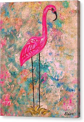 Flamingo On Pink And Blue Canvas Print by Eloise Schneider