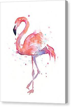 Flamingo Watercolor Canvas Print by Olga Shvartsur