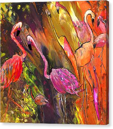 Flamingoes Wild Canvas Print by Miki De Goodaboom