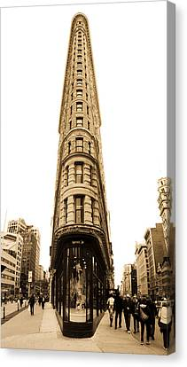 Flat Iron Building In New York City Canvas Print by John McGraw