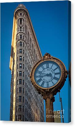 Flatiron Clock Canvas Print by Inge Johnsson