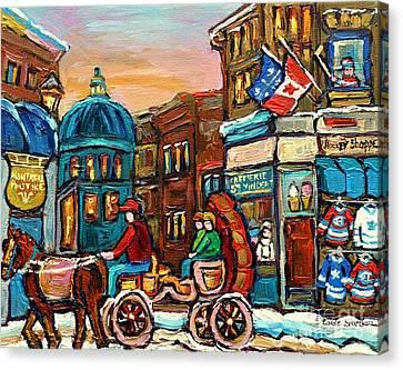 Fleur De Lys Hockey Sweaters Montreal Paintings Cremerie Old Port Bonsecours Market Carole Spandau Canvas Print by Carole Spandau