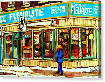Fleuriste Notre Dame Flower Shop Paintings Carole Spandau Winter Scenes Canvas Print by Carole Spandau