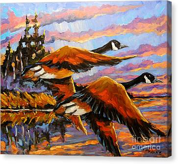 Flight Navigations Geese In  Motion Canvas Print by Richard T Pranke