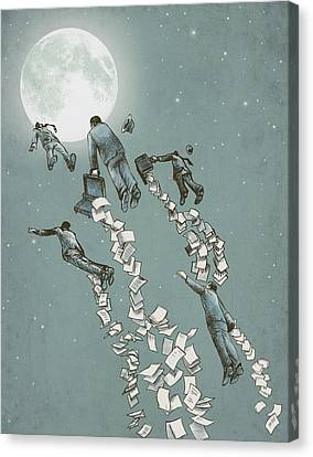Flight Of The Salary Men Canvas Print by Eric Fan