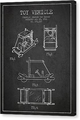 Flintstones Toy Vehicle Patent From 1961 - Charcoal Canvas Print by Aged Pixel