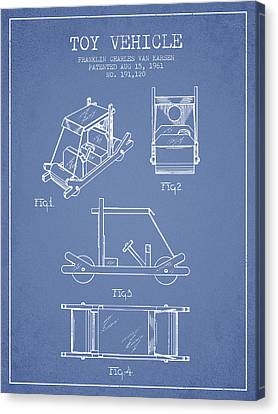 Flintstones Toy Vehicle Patent From 1961 - Light Blue Canvas Print by Aged Pixel