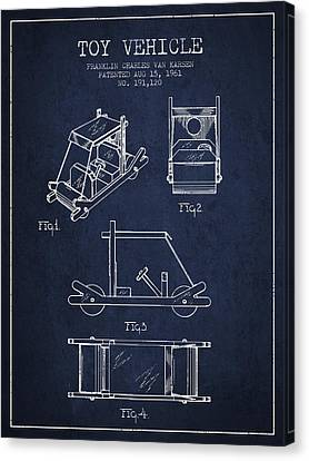 Flintstones Toy Vehicle Patent From 1961 - Navy Blue Canvas Print by Aged Pixel
