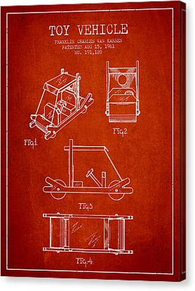 Flintstones Toy Vehicle Patent From 1961 - Red Canvas Print by Aged Pixel