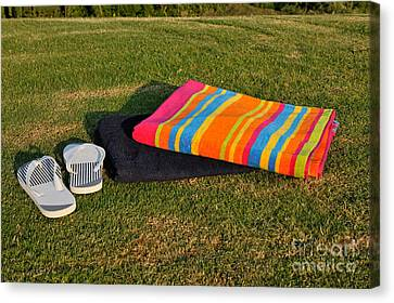 Flip Flops And Towels On Grass Canvas Print by George Atsametakis